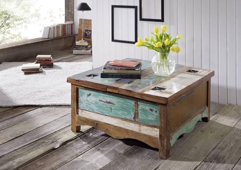 SPIRIT konferenčný stolík #07 - 90x90cm lakované staré indické drevo