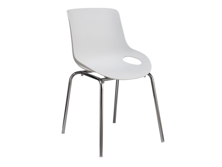 Jedálenská stolička Edlin (biela + chróm)