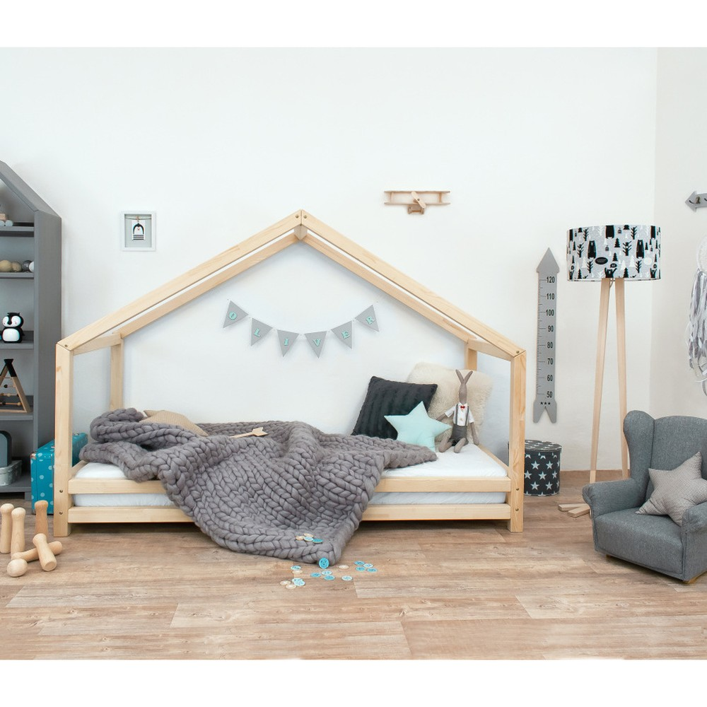 Detská posteľ z prírodného smrekového dreva Benlemi Sidy, 90 × 200 cm