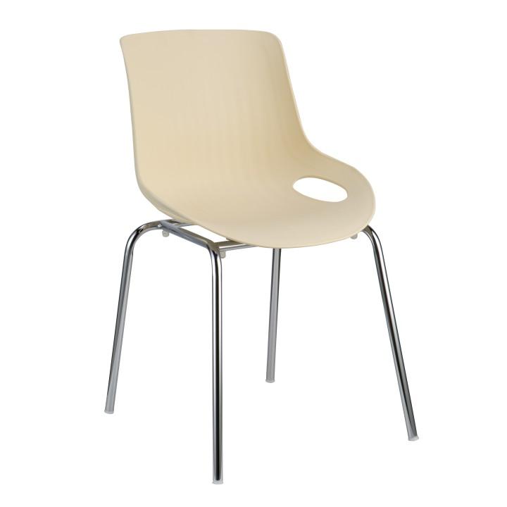 TEMPO KONDELA EDLIN jedálenská stolička - chróm / béžová