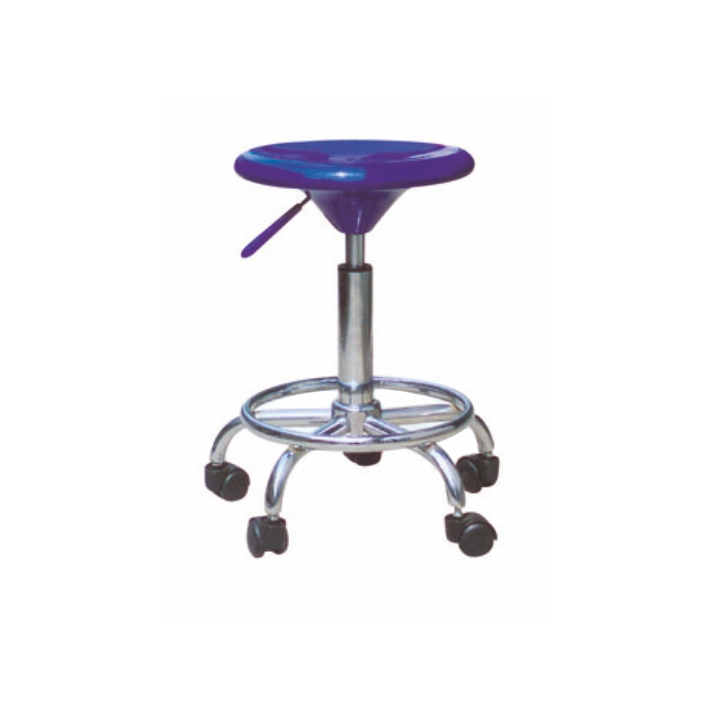 TEMPO KONDELA MABEL NEW stolička na kolieskach - modrá / chróm