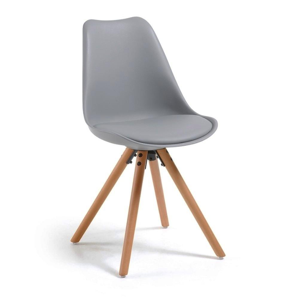 Sivá jedálenská stolička s drevenými nohami loomi.design