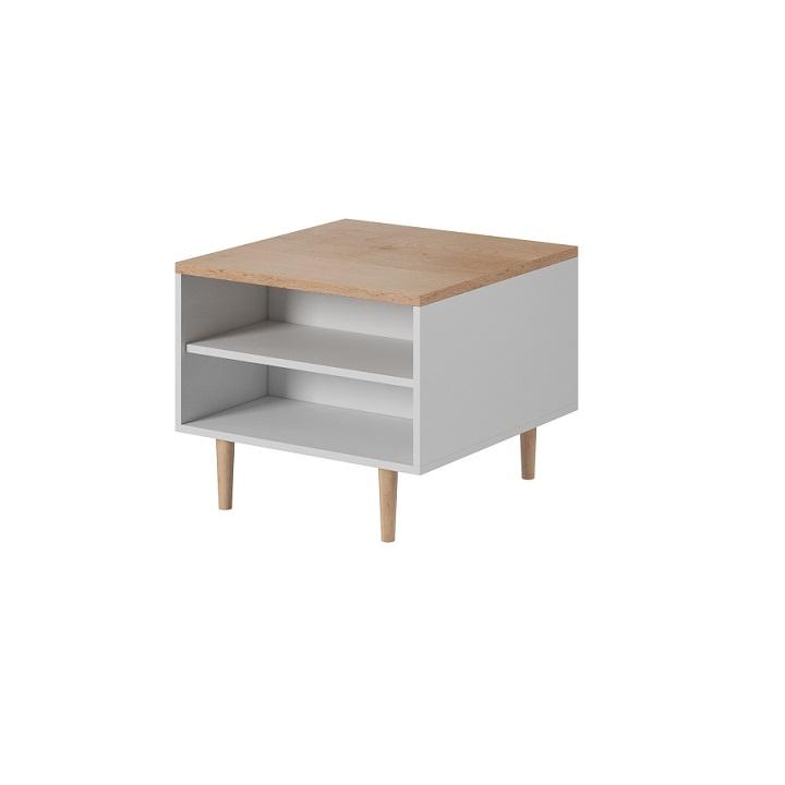 TEMPO KONDELA Konferenčný stolík, biela/buk pieskový LAVELI  LL60