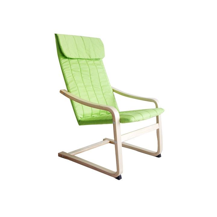 Relaxačné kreslo, brezové drevo-zelená látka, TORSTEN |KUMAXnabytok.sk