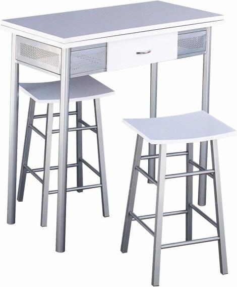 Barový set - stôl + 2 stoličky, strieborná/biela, HOMER