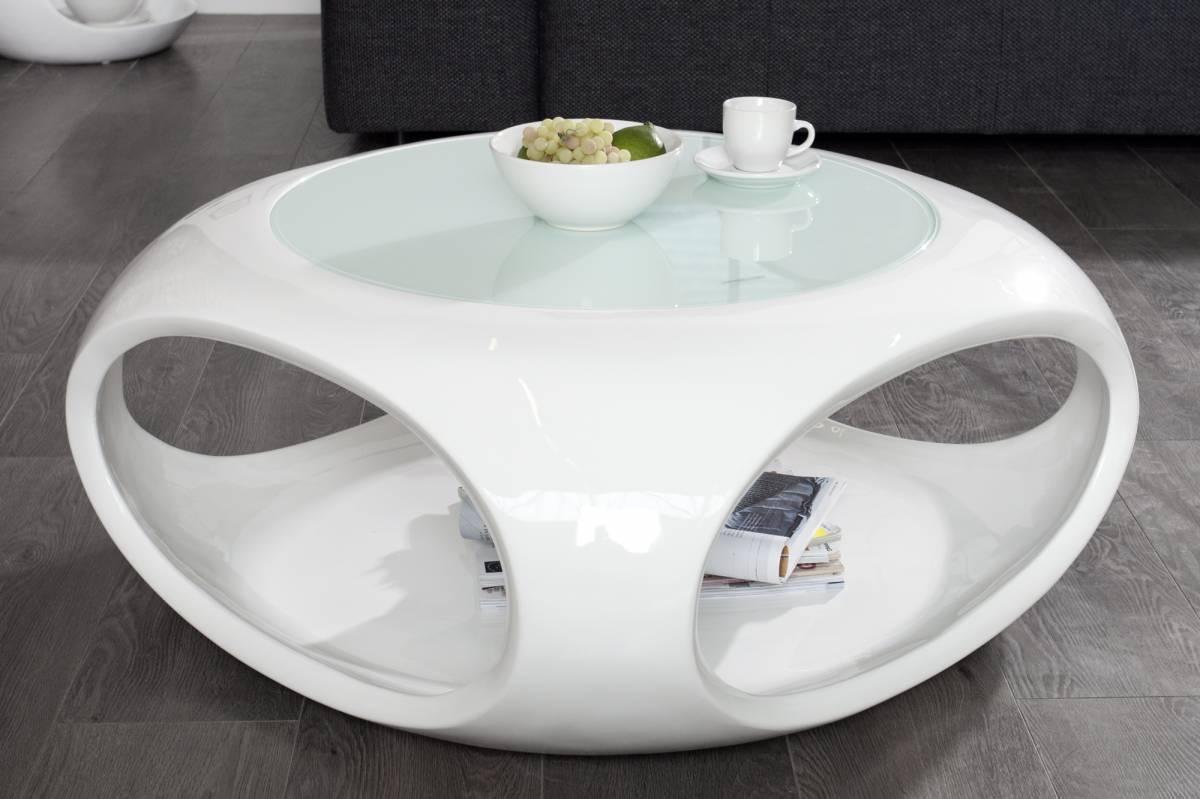 Konferenčný stolík SPINNER 75 cm - biela