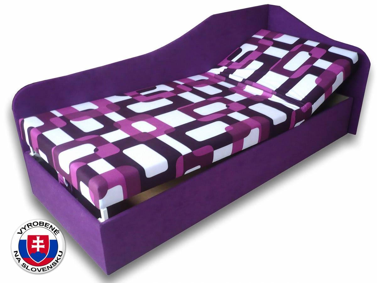 Jednolôžková posteľ (váľanda) 80 cm Anita (Gusto 10 + Fialová 49) (P)