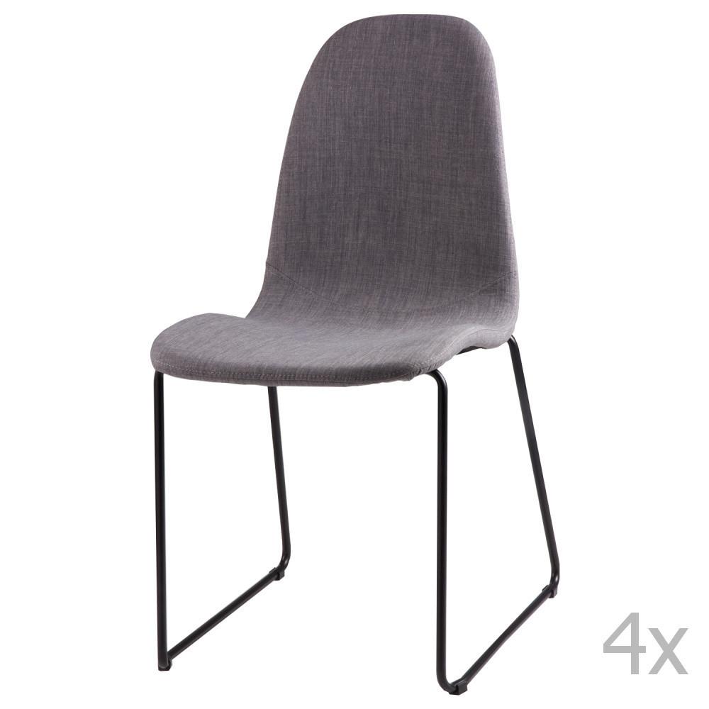 Sada 4 svetlosivých jedálenských stoličiek sømcasa Helena