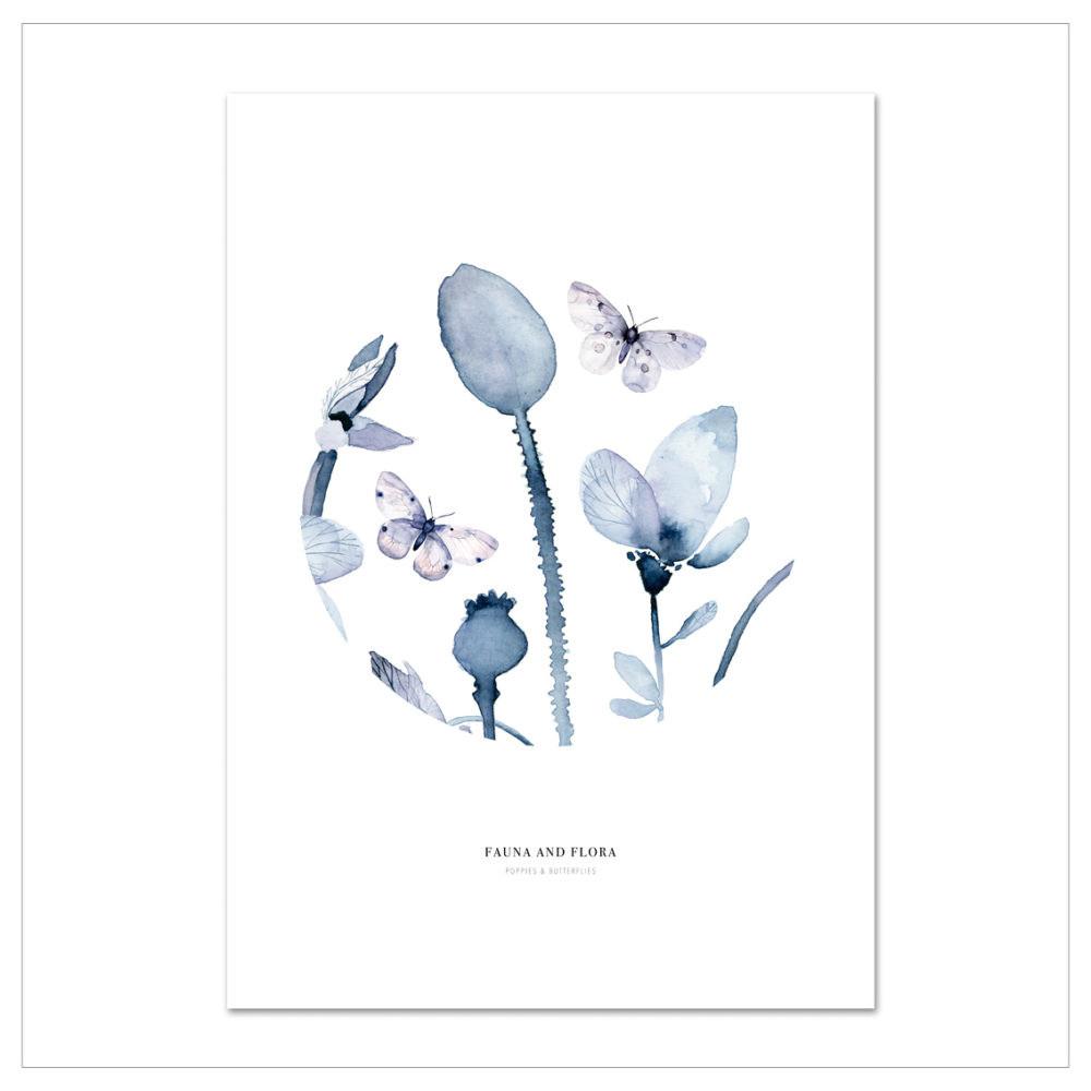 Plagát Leo La Douce Poppies &Butterflies I, 21x29,7cm