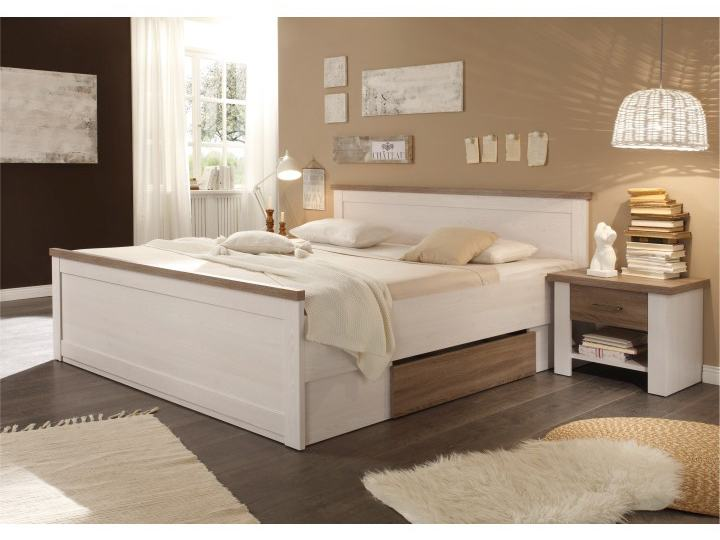 Manželská posteľ 180 cm Lumera (ul. priestor + 2ks stolík) (biela + dub sonoma)