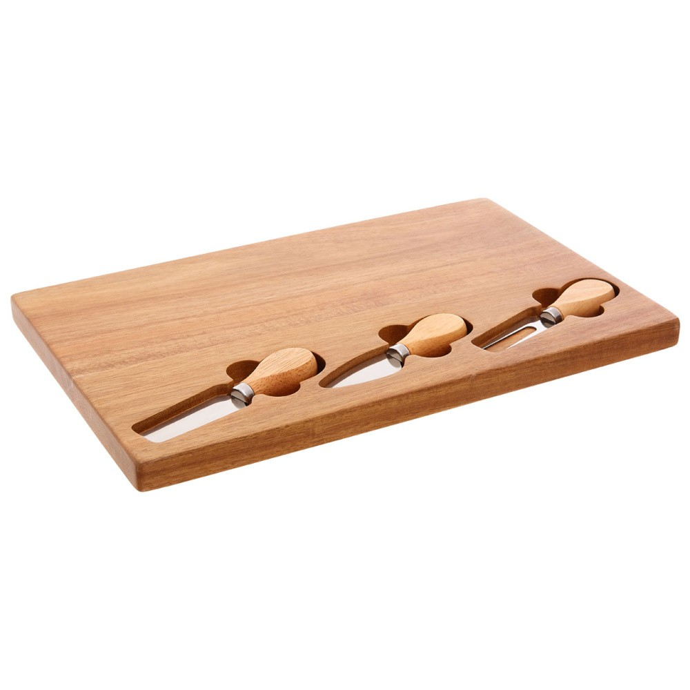 Set prkénka zo dreva gumovníku a 3 nožíků na sýry Premier Housewares, 23×37 cm