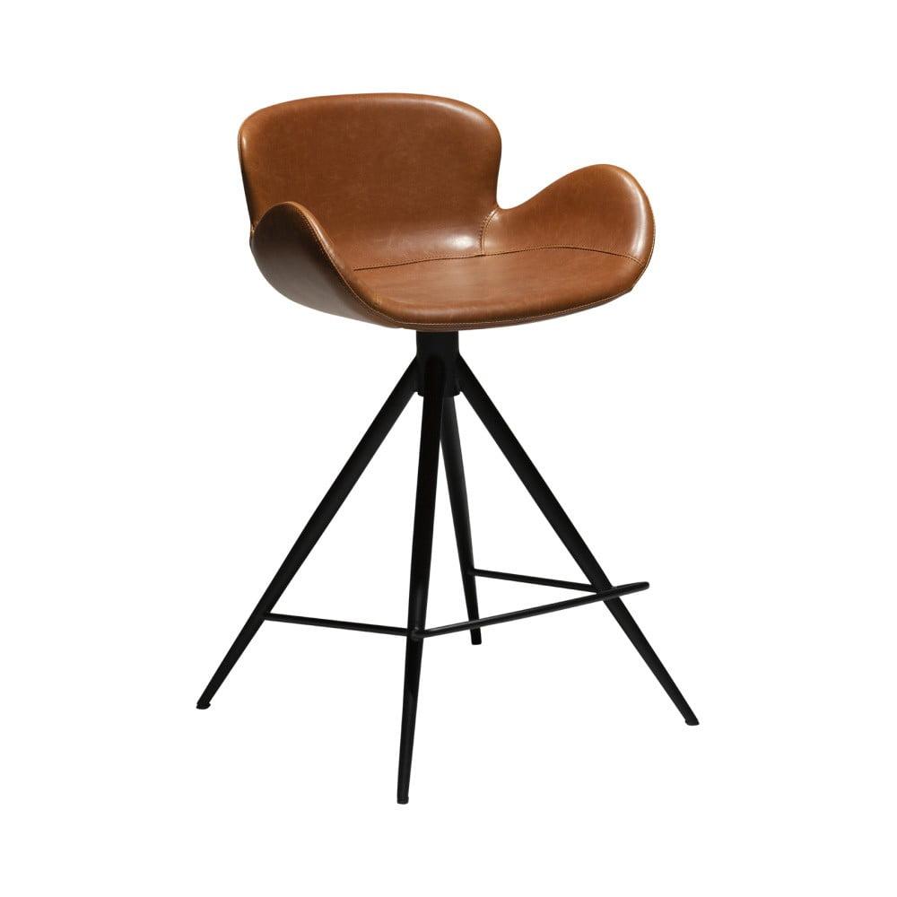 Koňakovohnedá barová stolička z eko kože DAN–FORM Denmark Gaia, výška 87 cm