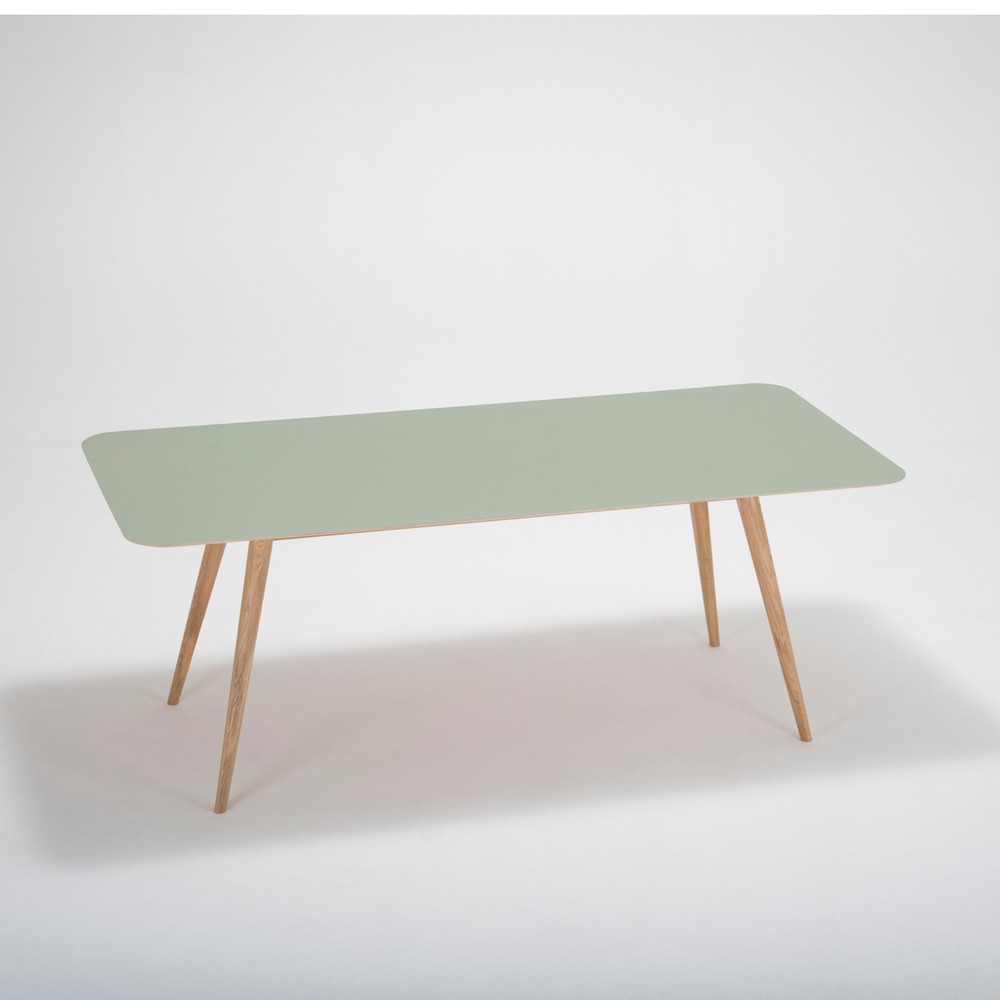 Jedálenský stôl z masívneho dubového dreva so zelenou doskou Gazzda Linn, 200×90cm