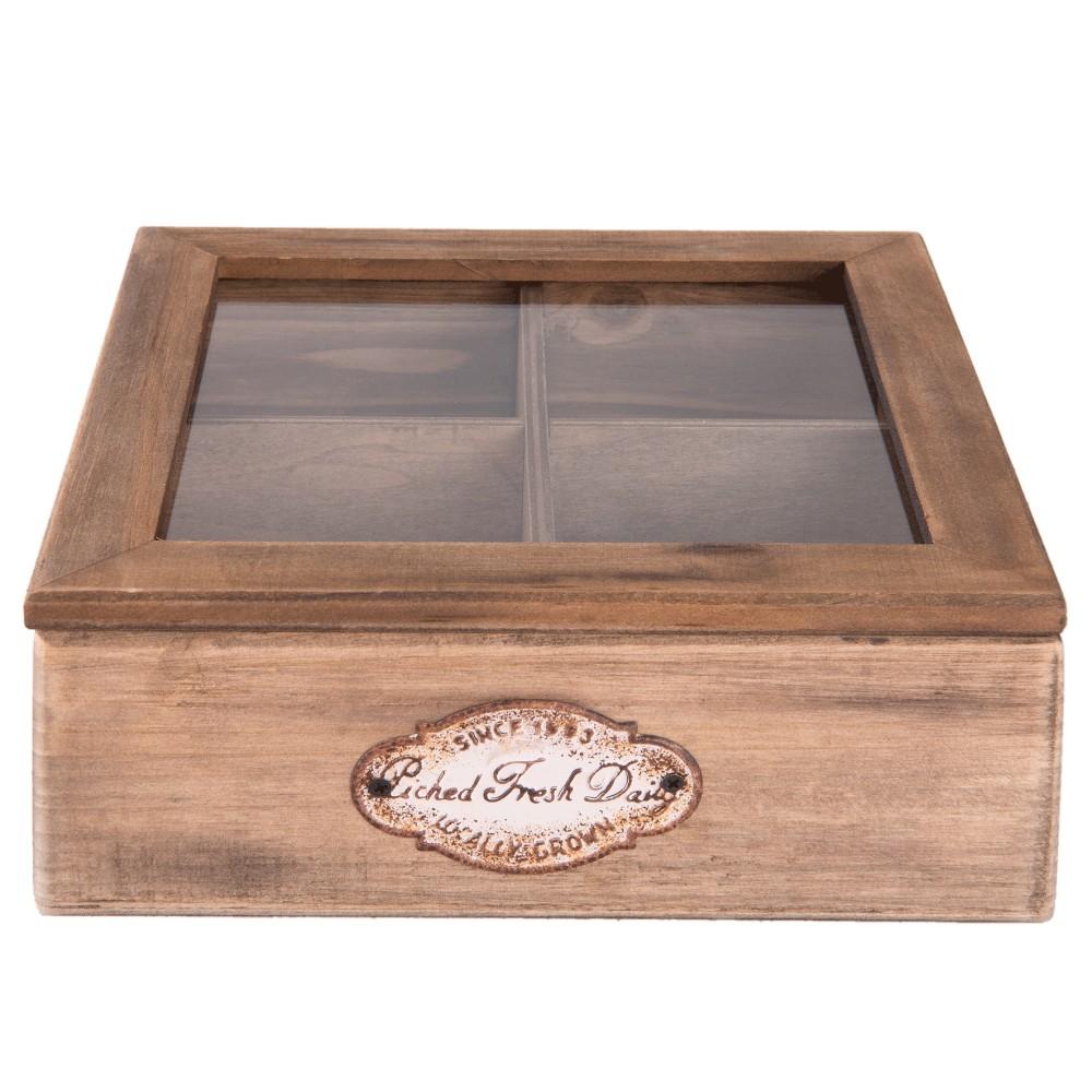 Drevený úložný box na čaj Clayre & Eef Hurasso