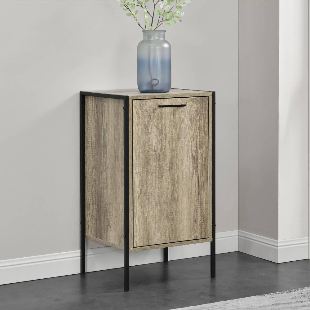 [en.casa]® Skrinka - komoda - čierna a imitácia dreva - 78 x 42,5 x 39 cm