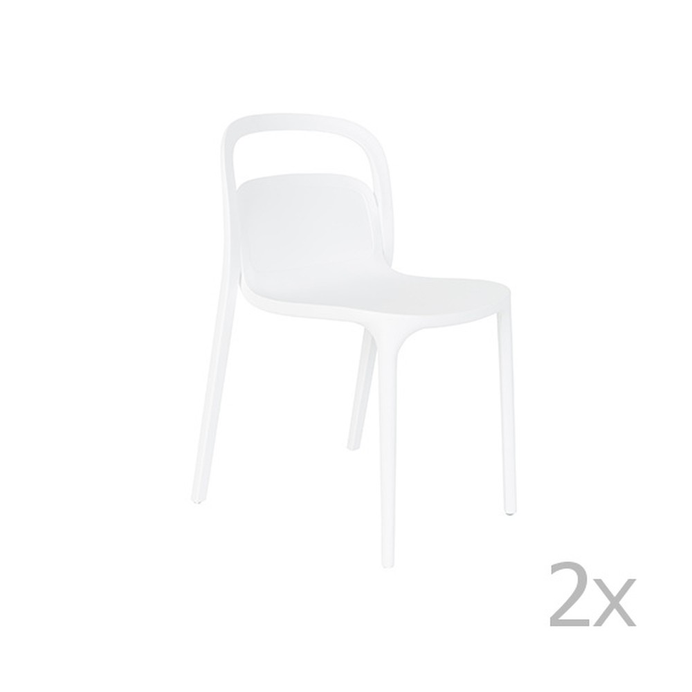 Sada 2 bielych stoličiek White Label Rex