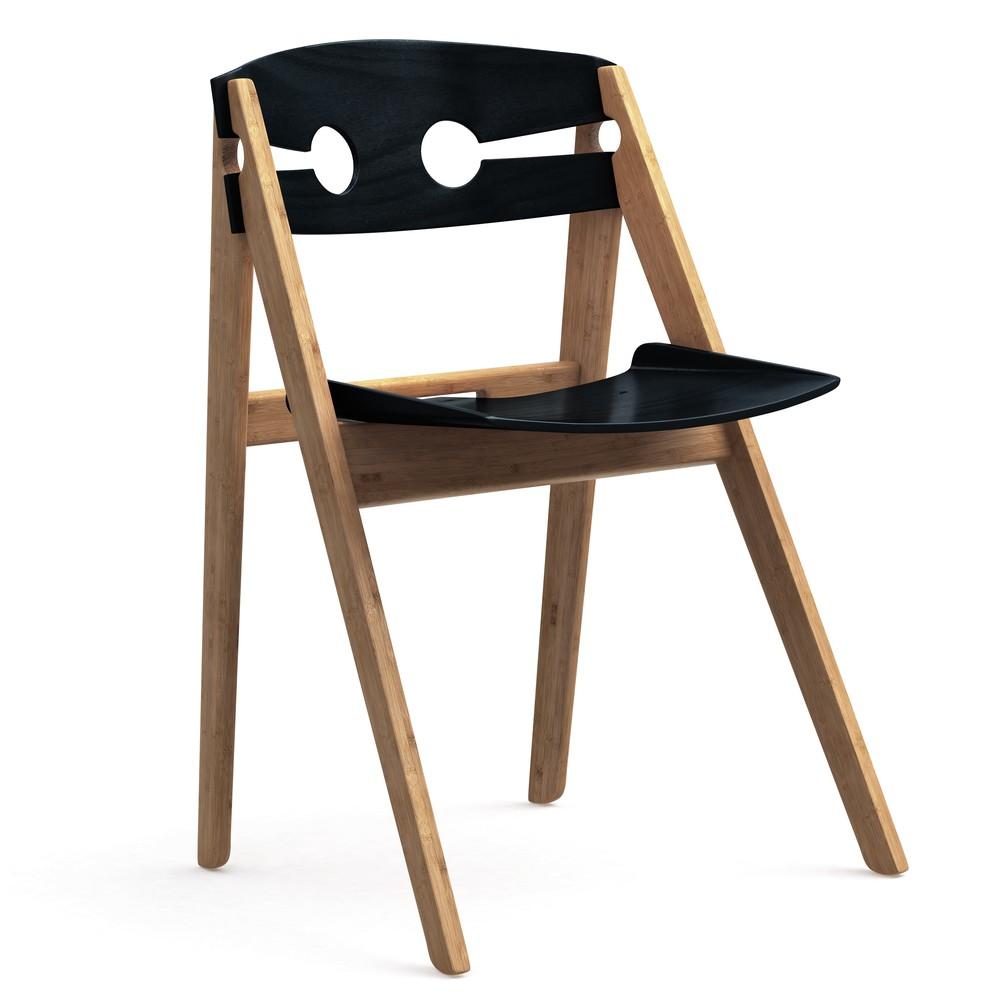 Čierna jedálenská stolička s bambusovou konštrukciou We Do Wood