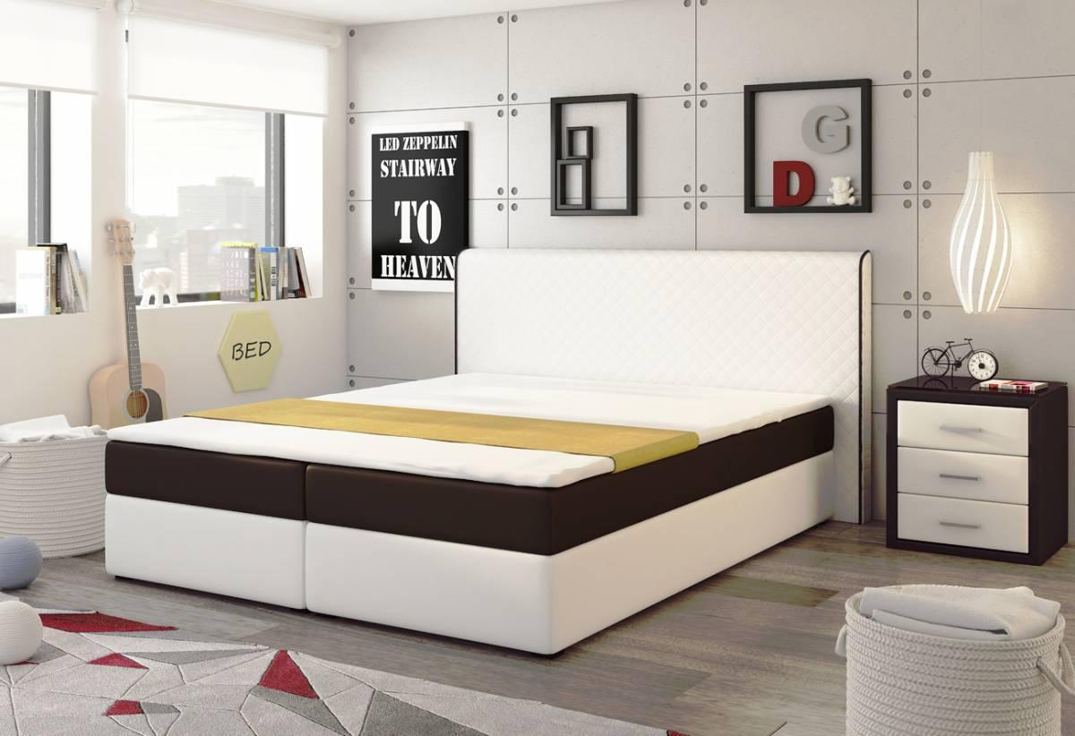 EKO SPRING posteľ 180 biela/hnedá