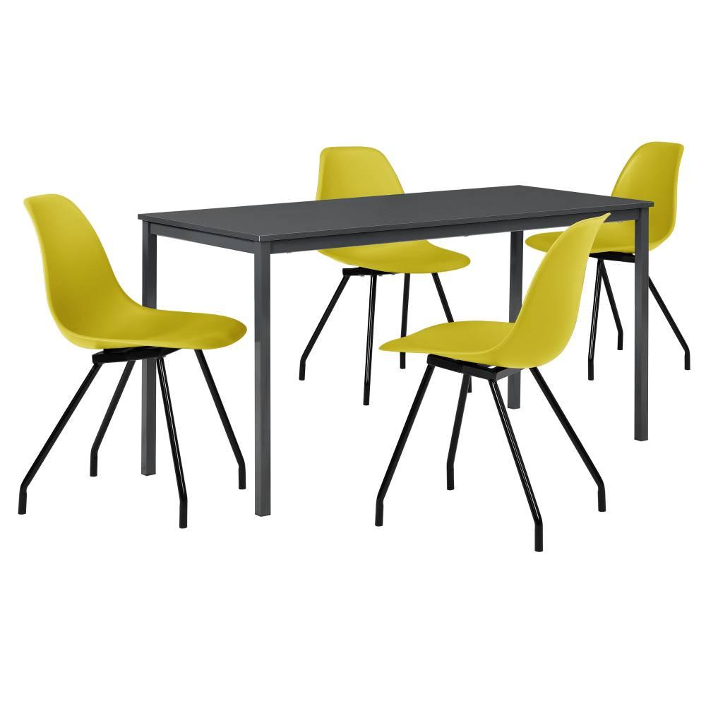 [en.casa]® Štýlová dizajnová jedálenská zostava - tmavo sivý stôl - so 4 elegantnými stoličkami - horčicovo žltými