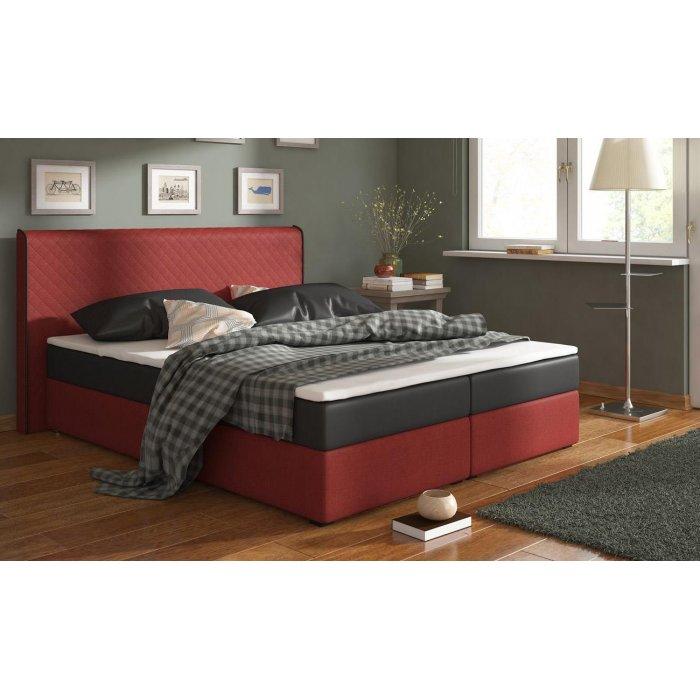 RENAR BERGAMO MEGACOMFORT 180 posteľ - čierna ekokoža / červená látka (Inari 61)