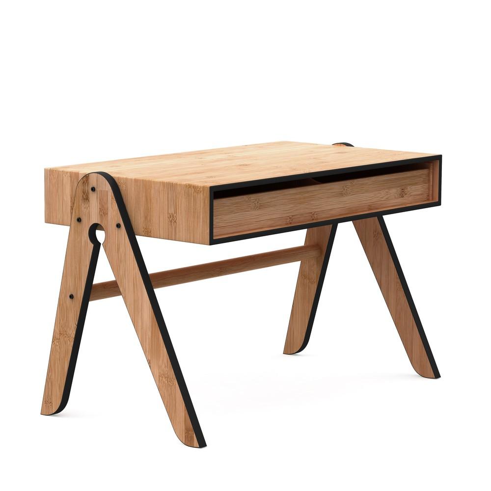 Detský bambusový písací stôl s čiernymi detailmi We Do Wood Geo's