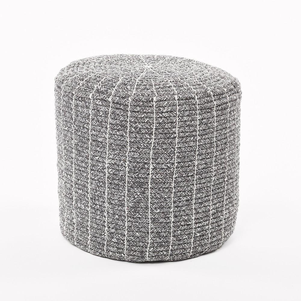 Sivý puf z bavlneného lana Simla Stool, ⌀ 34 cm