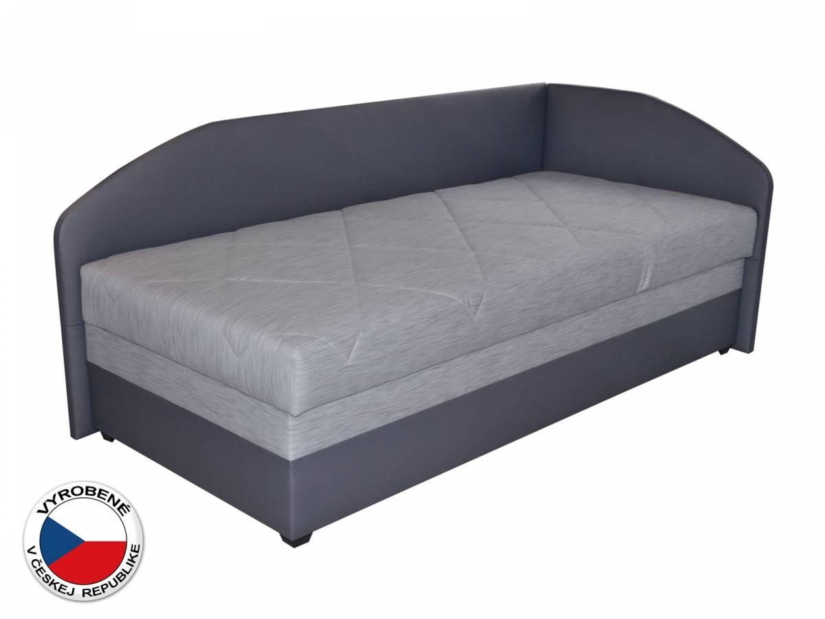 Jednolôžková posteľ (váľanda) 90 cm Blanár Turi (svetlosivá + tmavosivá) (s roštom a matracom) (P)