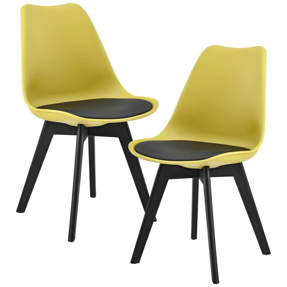 [en.casa]® Dizajnová stolička - 83 x 48 cm - muštárovo žltá/čierna