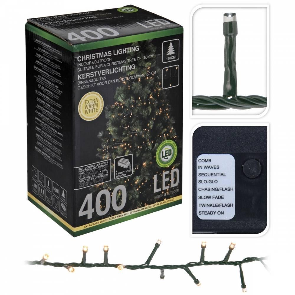 Vianočná svetelná reťaz Cluster, 400 mini teplá LED,