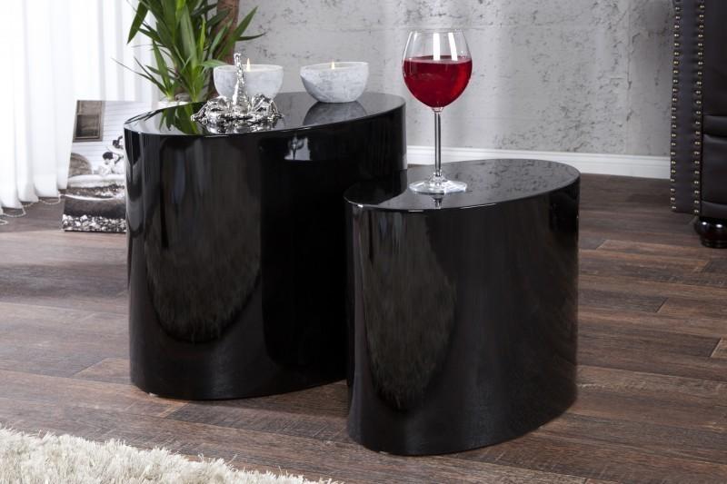 Set 2 odkladacích stolíkov DIVISION - čierna