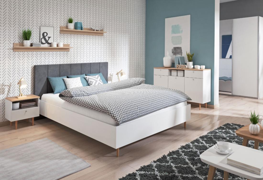 Ložnicová sestava LIVELO + postel LLO180 včetně matrace Bonell + pěna, buk pískový/bílý