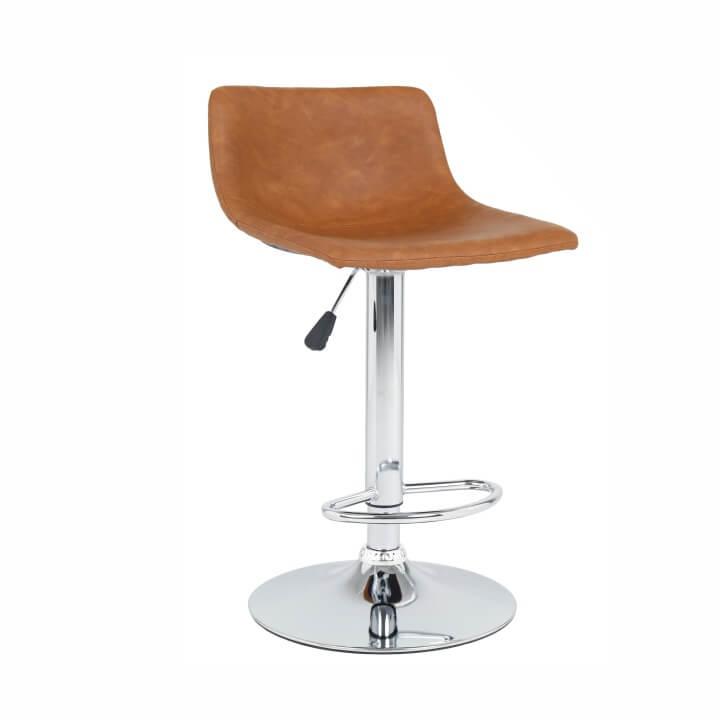 TEMPO KONDELA Barová stolička, svetlohnedá/chróm, EBRO