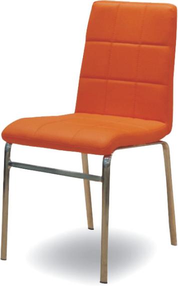 Chrómová stolička, chróm/ekokoža oranžová, DOROTY NEW
