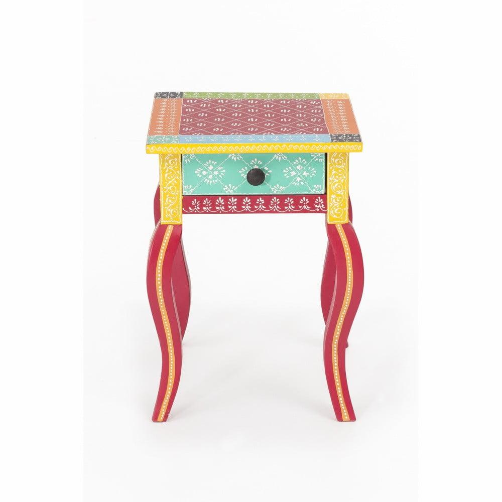 Nočný stolík z akáciového dreva WOOX LIVING India Colore