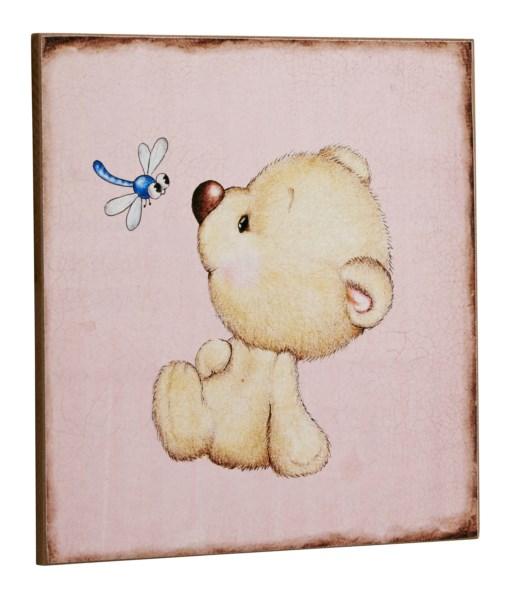 Bighome - Ceduľa PINK TEDDY BEAR - ružová