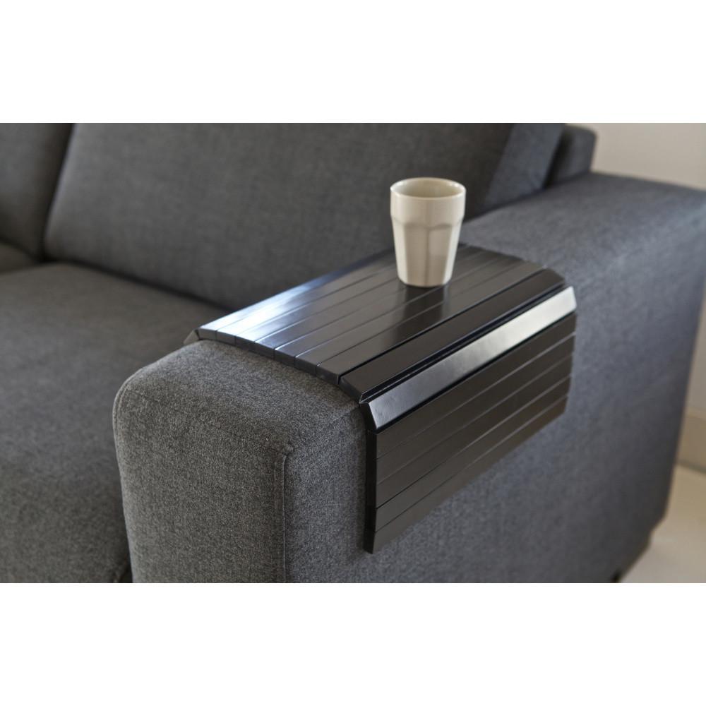 Čierna drevená podložka na opierku pohovky De Eekhoorn Tray XL