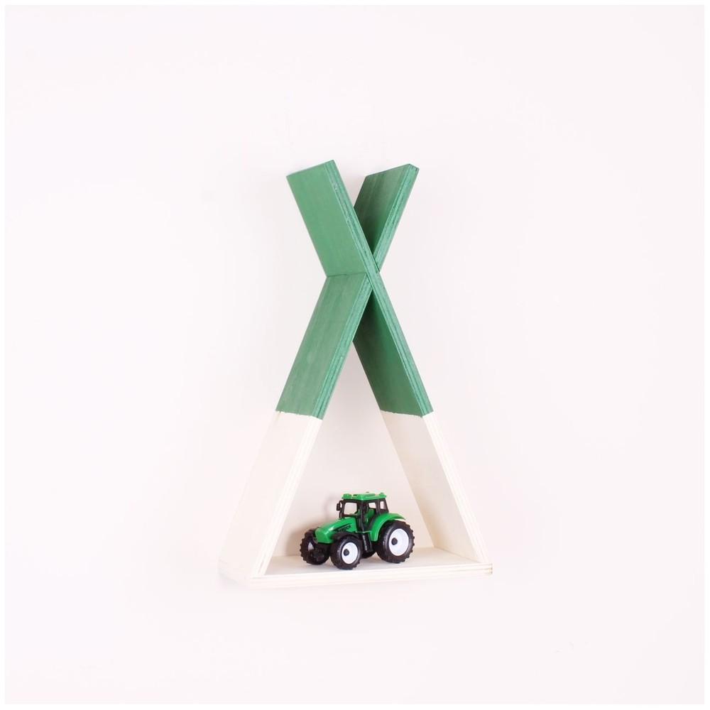 Zelená drevená nástenná polička North Carolina Scandinavian Home Decors Teepee