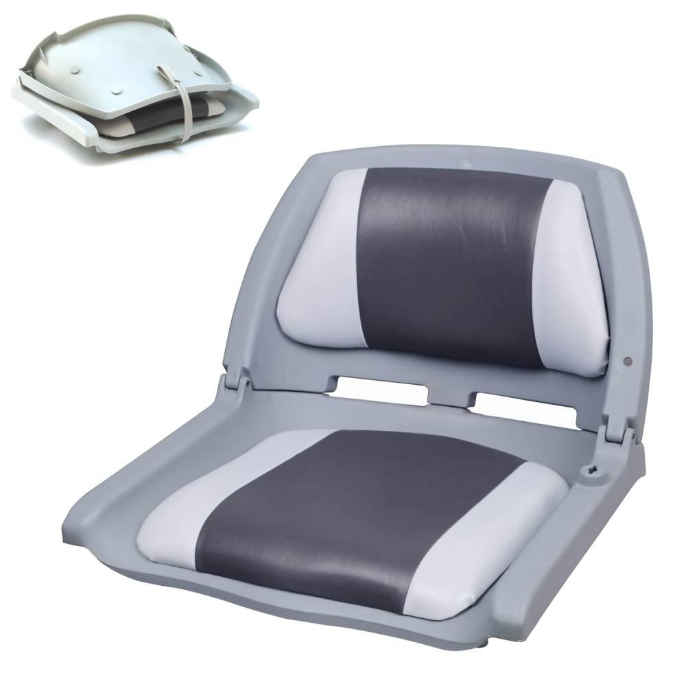 [pro.tec]® Kapitánske sedadlo - pre lode / člny / jachty - 521 x 457 x 408 mm - sivo-biele