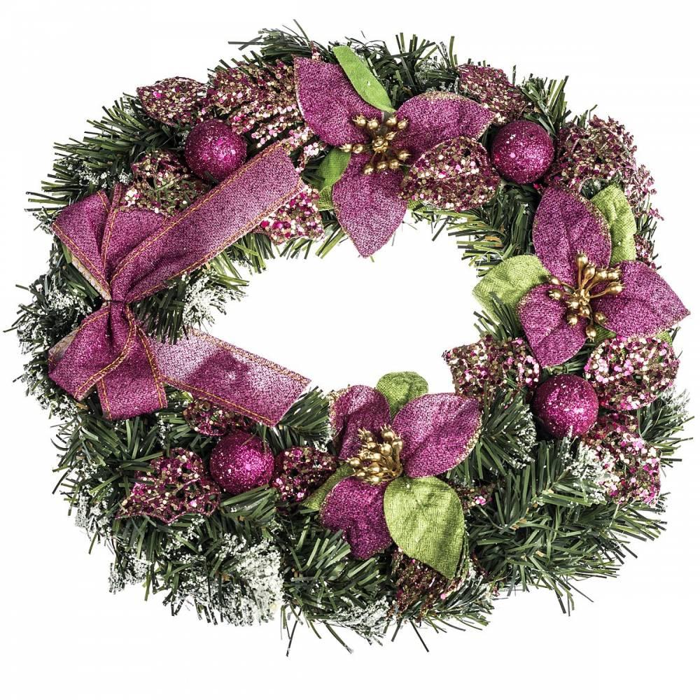 HTH Ozdobený vianočný veniec pr. 30 cm ružová
