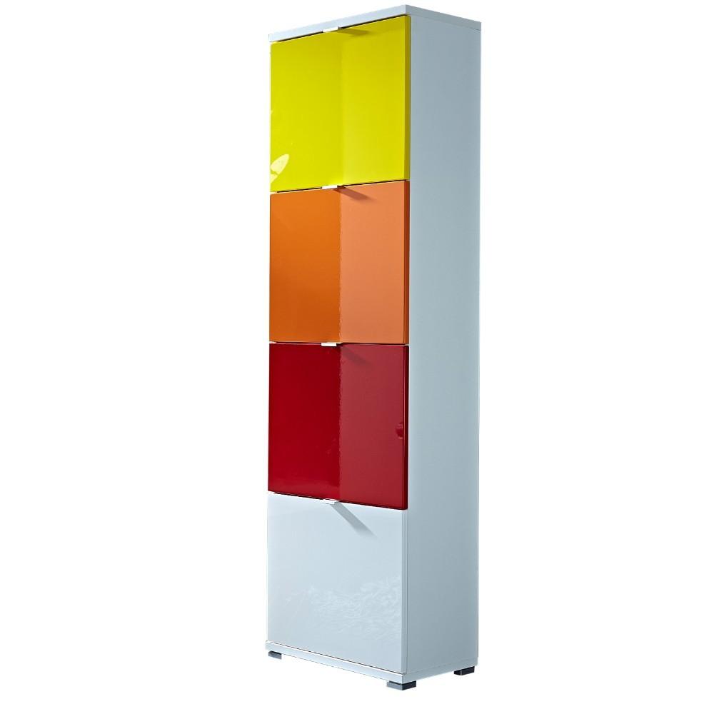 Biela skrinka na topánky so žltou, oranžovou, červenou a bielou zásuvkou Germania Colorado