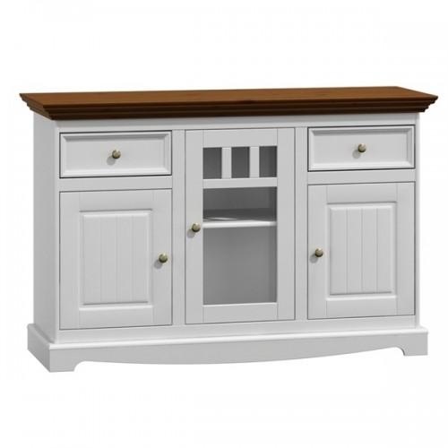 Biely nábytok Komoda Belluno Elegante, 3-dverová, dekor biela / orech, masív, borovica