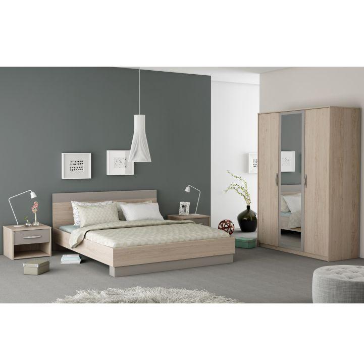 Spálňový komplet (skriňa+posteľ+2x nočný stolík), dub arizona/sivá , GRAPHIC