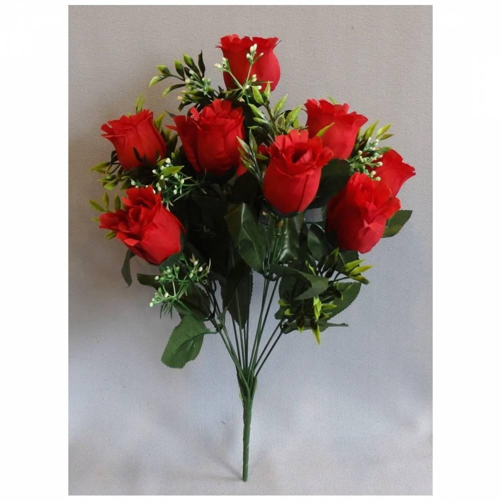 Umelá kytica Ruže červená, 43 cm