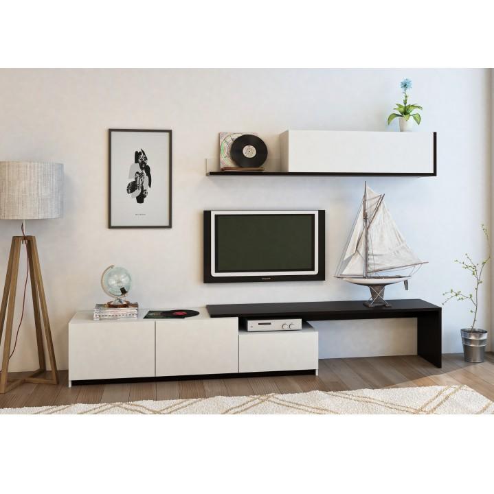 TEMPO KONDELA Obývacia stena, čierna/biela, CUBE