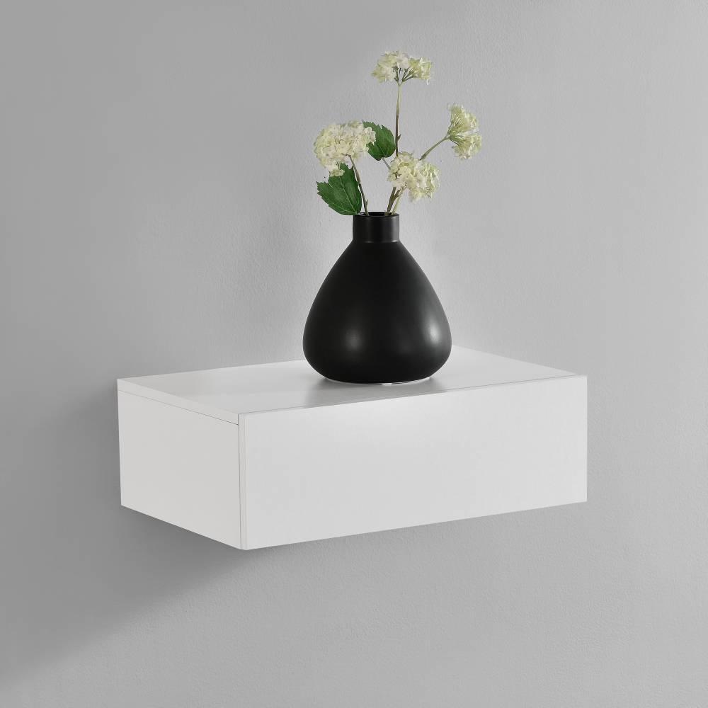 [en.casa]® Nočný stolík na stenu - 46 x 30 x 15 cm - biely matný