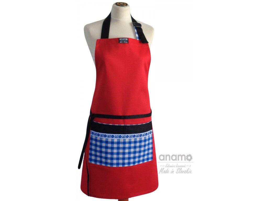 Zástera Anamo ľudová červená s vreckom s modrým vzorom