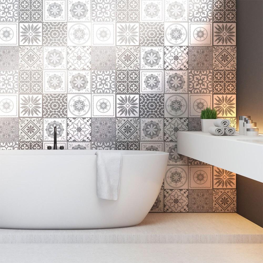 Sada 12 nástenných samolepiek Ambiance Cement Tiles Shades of Gray Cordoba, 10 × 10 cm
