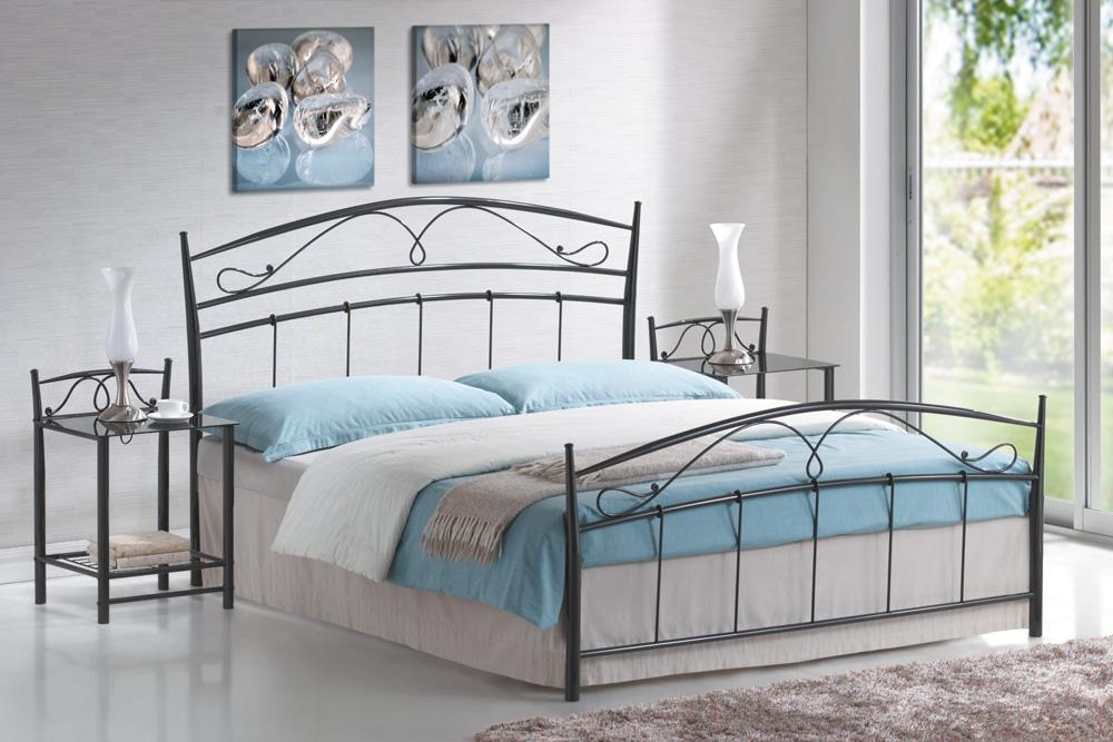 Manželská posteľ 160 cm Siena čierna (s roštom)