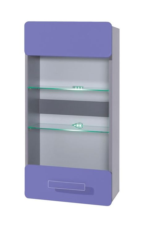 Závesná vitrína FIGARO, 105x50x32 cm, grafit/fialová, modré LED