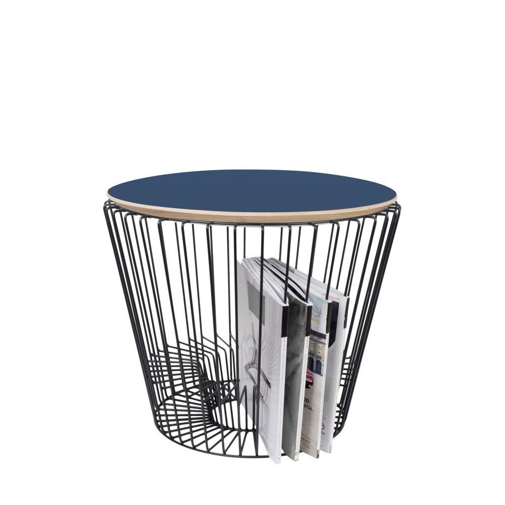 Odkladací stolík z lakovaného kovu s modrou doskou HARTÔ, Ø50 cm